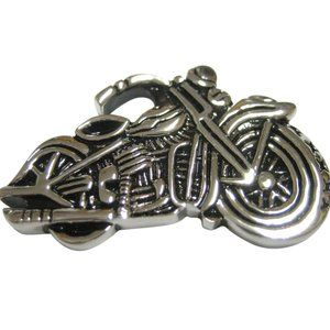 Detailed Black and Silver Toned Motorcycle Magnet